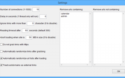 Link Extractor Settings
